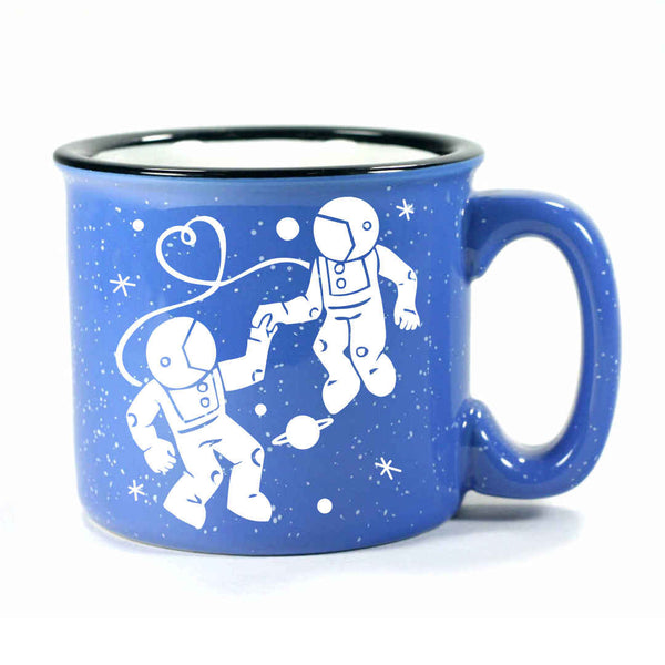 ocean blue camp mug, astronaut love