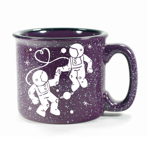 purple camp mug, astronaut love
