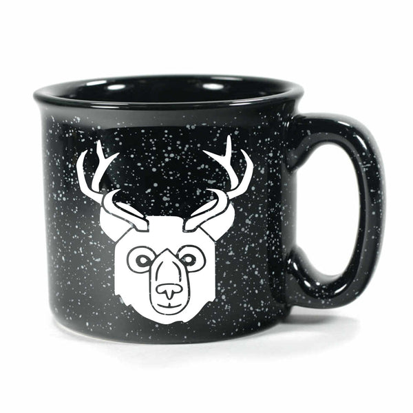 BEER Bear with Antlers Mug, camp black