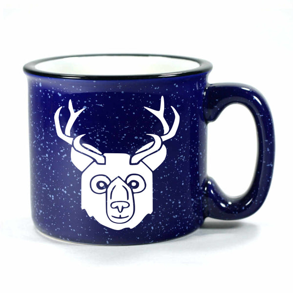 BEER Bear with Antlers Mug, camp navy blue