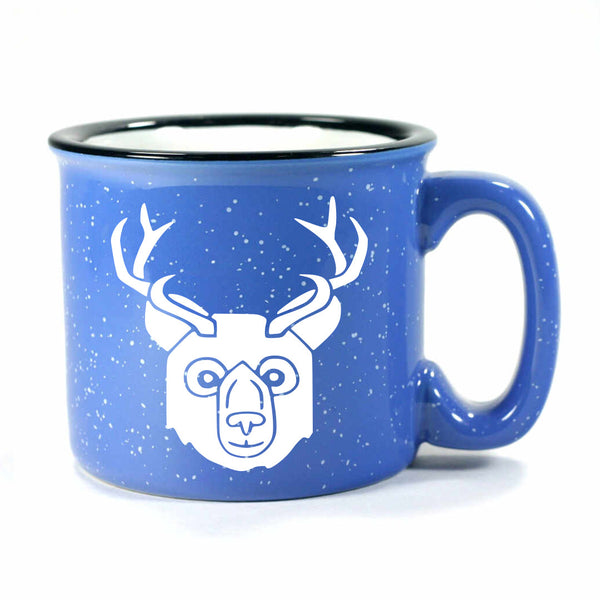 BEER Bear with Antlers Mug, camp ocean blue