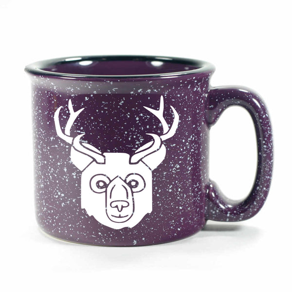 BEER Bear with Antlers Mug, camp purple