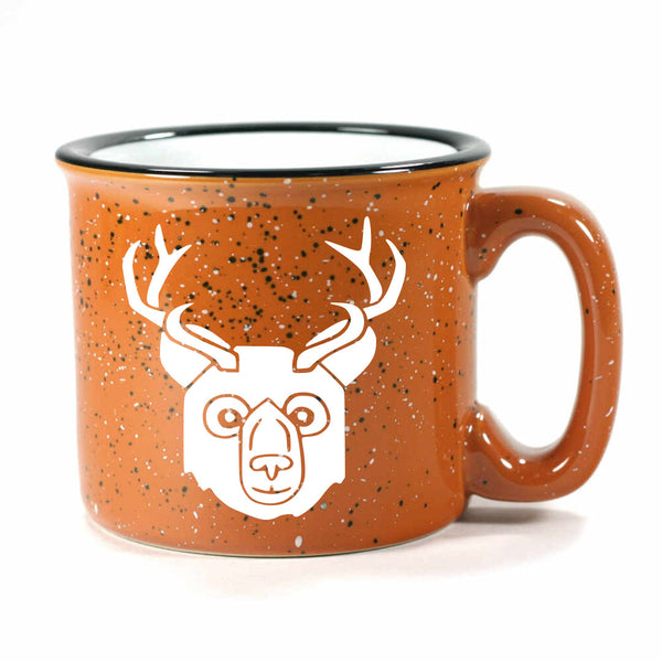 BEER Bear with Antlers Mug, camp rust