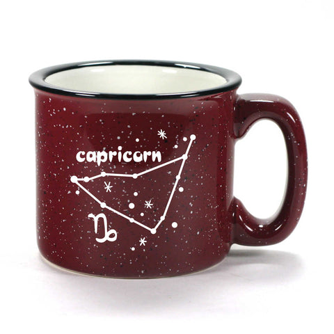 capricorn constellation camp mug, burgundy, by Bread and Badger