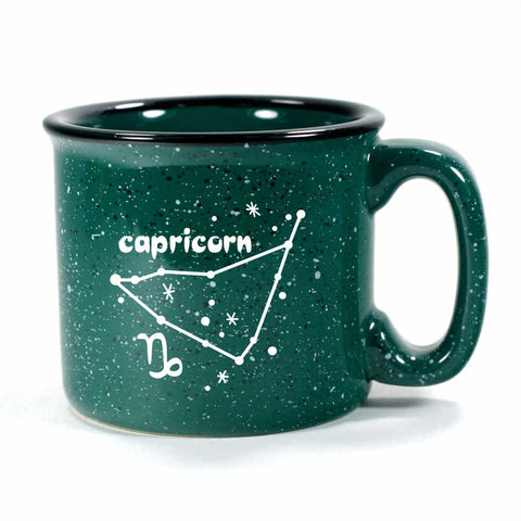 capricorn constellation camp mug, forest green, by Bread and Badger