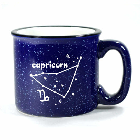 capricorn constellation camp mug, navy blue, by Bread and Badger