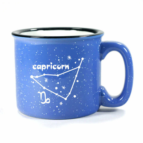 capricorn constellation camp mug, ocean blue, by Bread and Badger