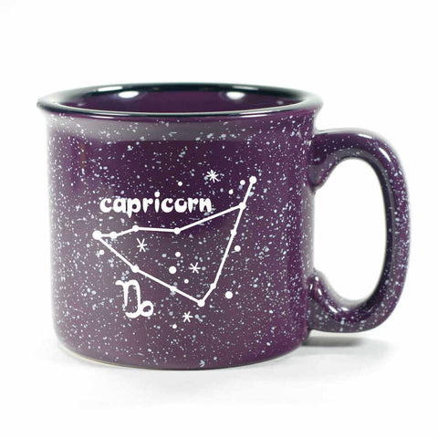 capricorn constellation camp mug, purple, by Bread and Badger