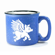 Ocean Blue Flying Pig camp mug by Bread and Badger