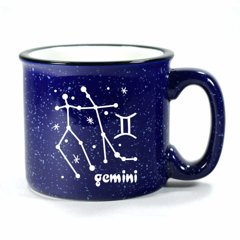gemini constellation camp mug, navy blue, by Bread and Badger
