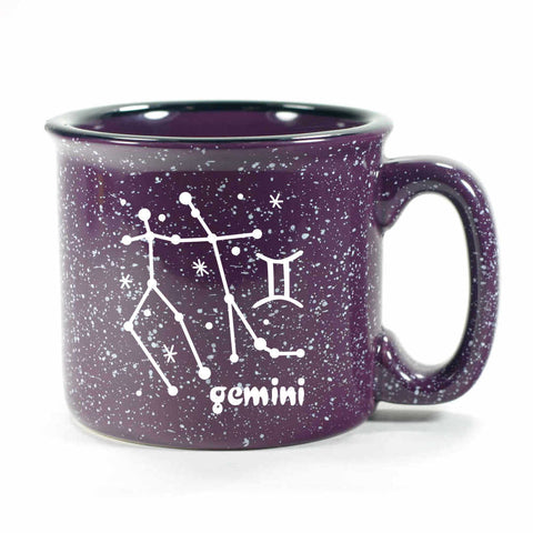 gemini constellation camp mug, purple, by Bread and Badger
