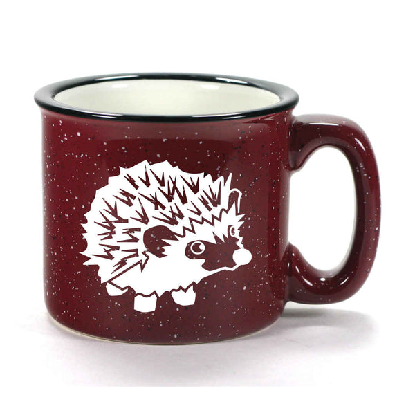 Burgundy Hedgehog camp mug by Bread and Badger