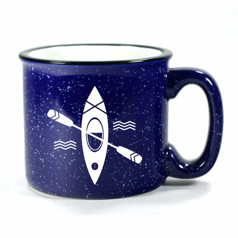 Kayak camp mug in navy blue by Bread and Badger