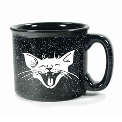 Black Laughing Cat camp mug by Bread and Badger