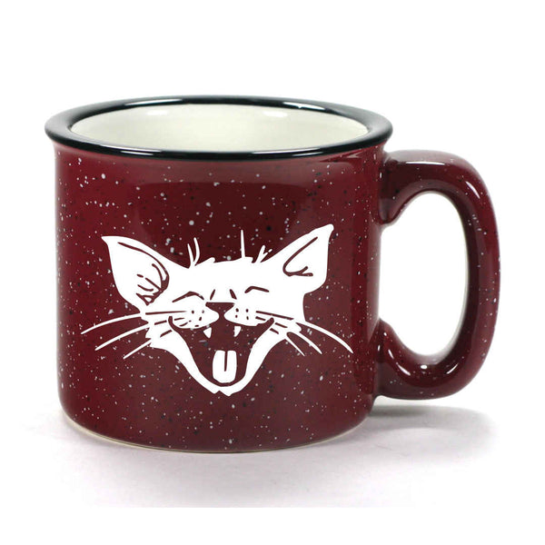 Burgundy Laughing Cat camp mug by Bread and Badger