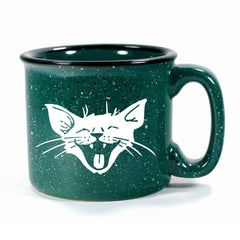 Forest Green Laughing Cat camp mug by Bread and Badger
