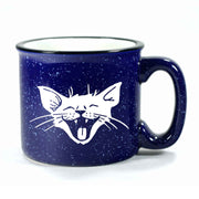 Navy Blue Laughing Cat camp mug by Bread and Badger