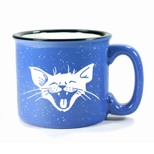 Ocean Blue Laughing Cat camp mug by Bread and Badger