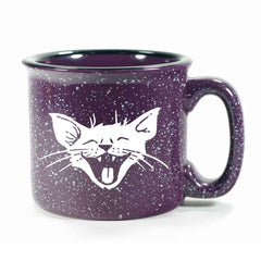 Purple Laughing Cat camp mug by Bread and Badger