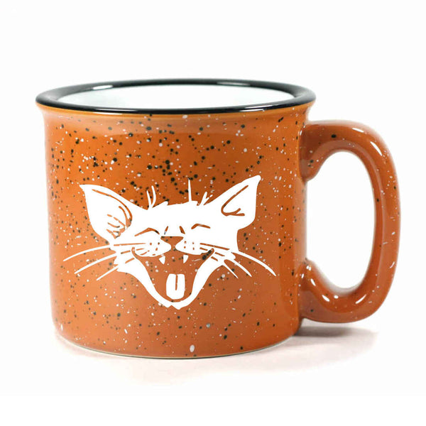 Rust Laughing Cat camp mug by Bread and Badger