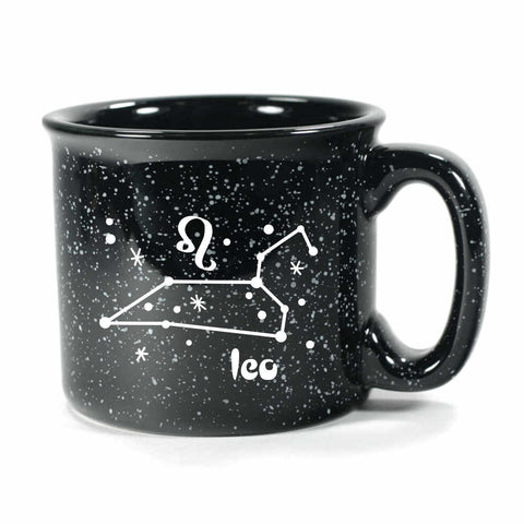 leo constellation camp mug, black, by Bread and Badger