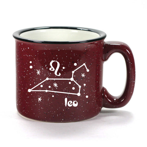leo constellation camp mug, burgundy, by Bread and Badger
