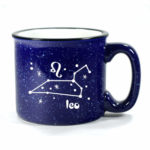 leo constellation camp mug, navy blue, by Bread and Badger