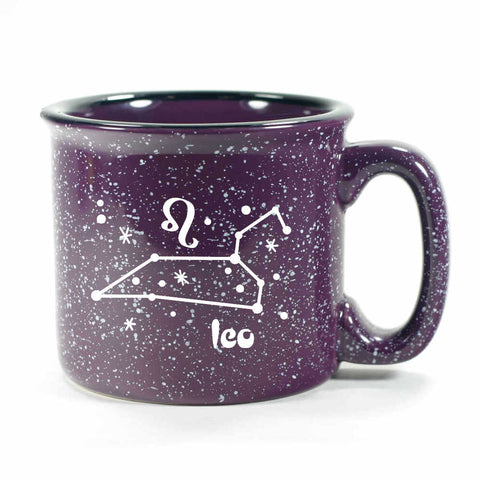 leo constellation camp mug, purple, by Bread and Badger