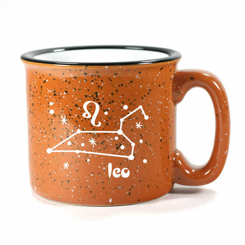 leo constellation camp mug, rust, by Bread and Badger