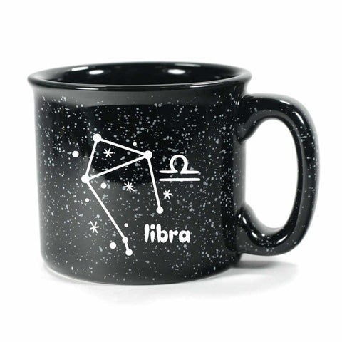 libra constellation camp mug, black, by Bread and Badger