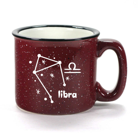 libra constellation camp mug, burgundy, by Bread and Badger