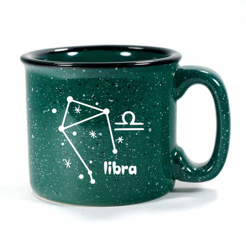 libra constellation camp mug, forest green, by Bread and Badger