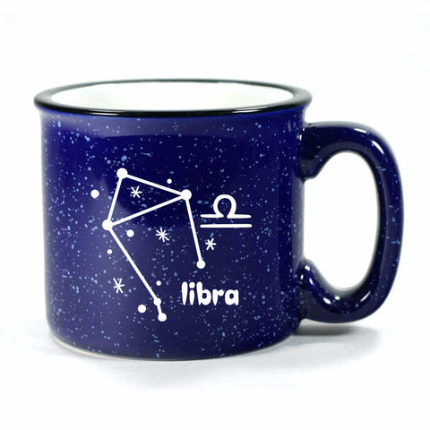 libra constellation camp mug, navy blue, by Bread and Badger
