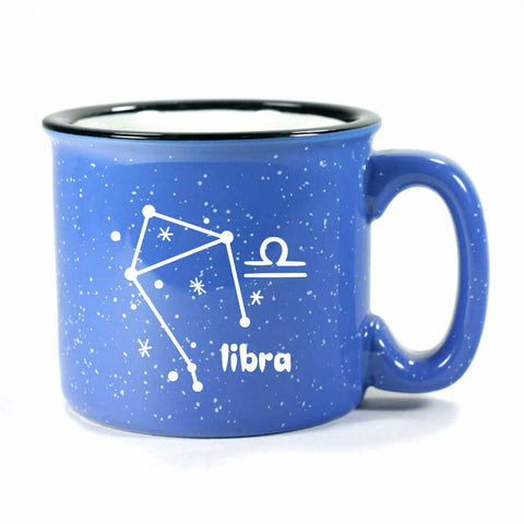 libra constellation camp mug, ocean blue, by Bread and Badger