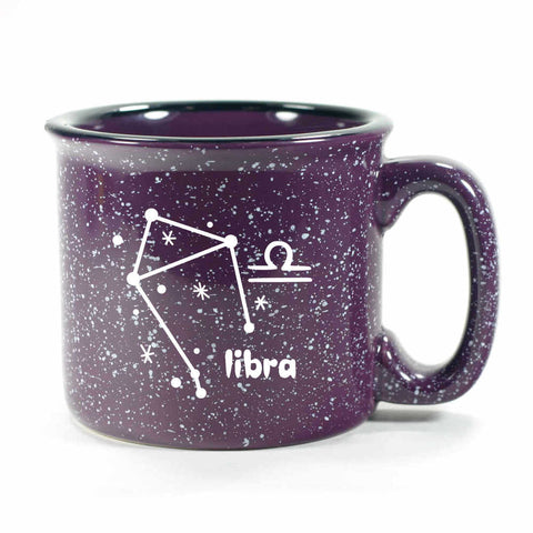 libra constellation camp mug, purple, by Bread and Badger