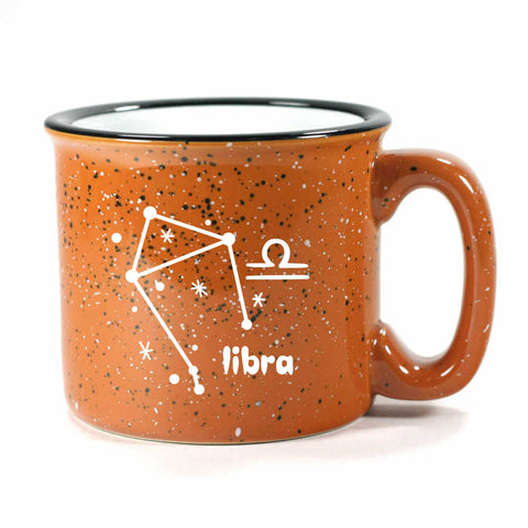 libra constellation camp mug, rust, by Bread and Badger
