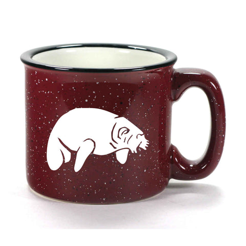 Camp Burgundy manatee mug by Bread and Badger