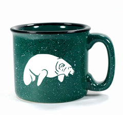 Camp forest green manatee mug by Bread and Badger