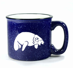 Camp navy blue manatee mug by Bread and Badger