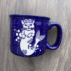Mermaid Cat navy blue camp mug by Bread and Badger