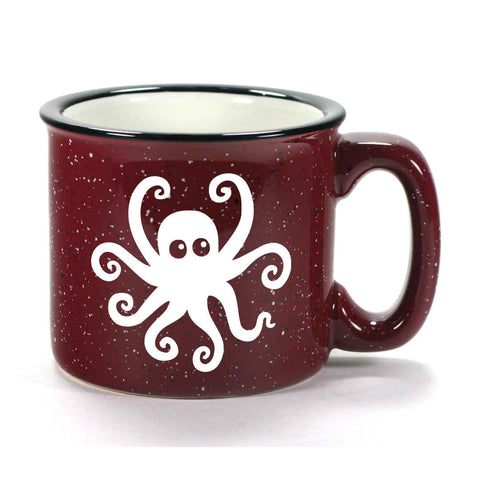 Burgundy Octopus camp mug by Bread and Badger