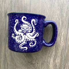 Octopus Cat speckled camp mug in navy blue