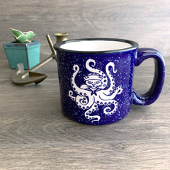 Sailor Octopus Cat speckled camp mug in navy blue