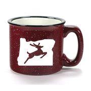 Burgundy Oregon Stag camp mug by Bread and Badger
