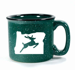 Forest Green Oregon Stag camp mug by Bread and Badger