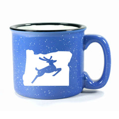 Ocean Blue Oregon Stag camp mug by Bread and Badger