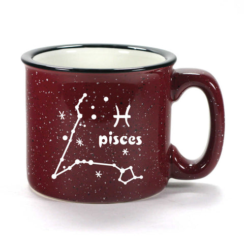 pisces constellation camp mug, burgundy, by Bread and Badger
