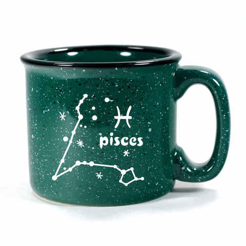 pisces constellation camp mug, forest green, by Bread and Badger