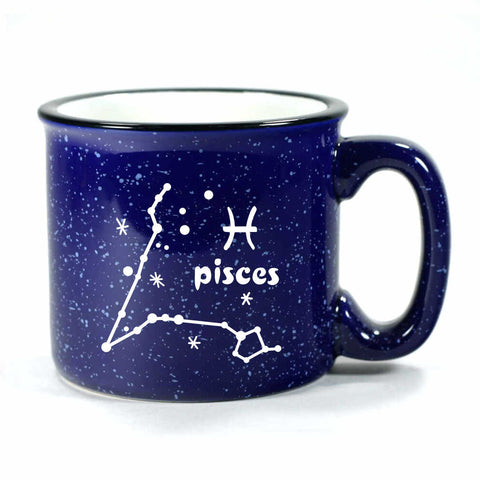 pisces constellation camp mug, navy blue, by Bread and Badger