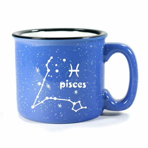pisces constellation camp mug, ocean blue, by Bread and Badger